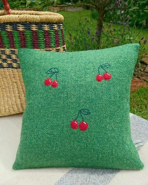 Hand crafted Harris Tweed cherry Design cushion cover