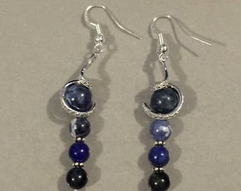 Natural gem stone pierced earrings