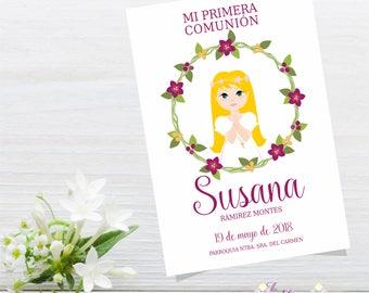Custom Printable Holy First Communion Card Girl Postcard Souvenir, Print, Eucharist, Celebration, Catholic