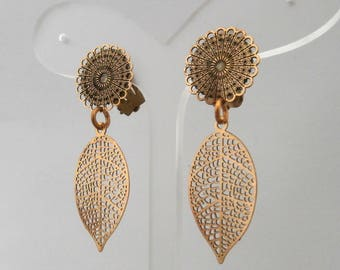 Earring Clip Gold Leaves (made in France)