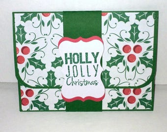 Christmas Holiday Gift Card Holder -Holly Jolly Christmas Money Holder - Red or Green