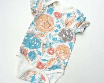 Baby girl floral handmade top -Paper flowers bodysuit -Girl bodysuit short sleeve-Baby long sleeve shirt -Baby shower gift