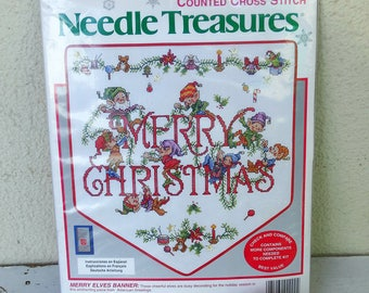 Christmas banner Merry Elves counted cross stitch christmas gnomes Needle Treasures multilingual DIY kit 02902 Vintage NEW deadstock