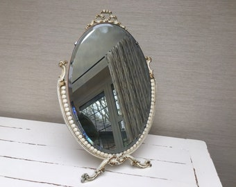 Vintage Oval Ornate Dressing Table Mirror