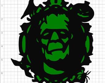 Layered Halloween Frankenstein  SVG PDF EPS Dxf & Studio 3 Cut Files