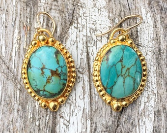 24K gold-plated turquoise drop earrings - vintage-style, handmade, OOAK, native american, bohemian boho valentine's day gifts for her