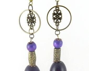 Bronze earrings * pearls violetttes * rings *.