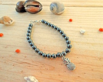 Hematite semi precious beads, pineapple gift charm bracelet party a grand mothers, Easter