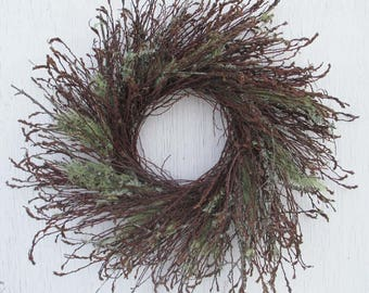 outdoor twig wreath with moss/sweet fern twig wreath with moss/rustic outdoor twig wreath/wild outdoor twig wreath/wildcrafted twig wreath