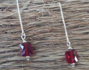 """Ruby"" square silver chain earrings"