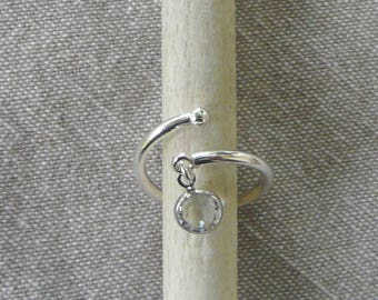 """Flexible silver ring """"Crystal"""""""