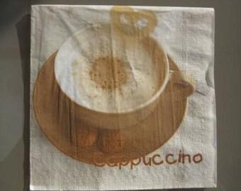 set of 2 papierserviette cappuccino paper napkins