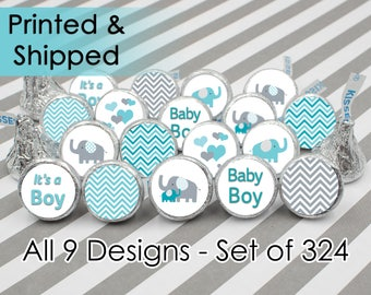 Teal Blue Elephant Boy Baby Shower Favor Stickers for Hershey Kisses - Boy Little Peanut Blue and Gray Chevron Candy Labels - Set of 324