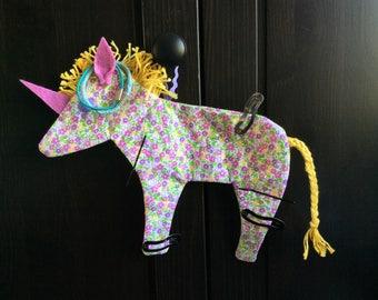 Unicorn print fabric flower jewelry holder