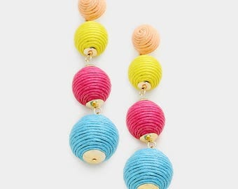 Quadruple Multi Colored Thread balls earrings