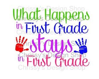 first grade svg file / first grade cut file / back to school svg / dxf / eps / pdf / school clip art / school template / scrapbook art