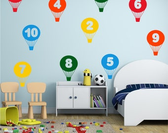 BALLOONS Numbers 1 to 10 Learning Educational Girls Boys Bedroom Nursery Vinyl Wall Art Sticker Decal Transfer 215mm
