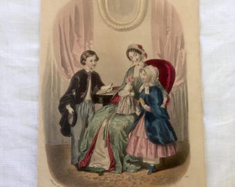 Antique engraving, girls 1848 newspaper, Magazine fashion France