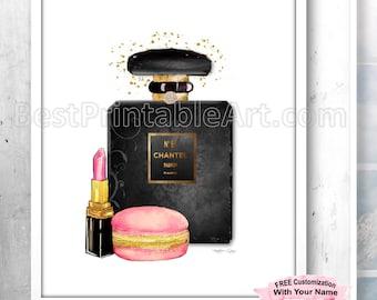 Black Perfume Printable, Christmas Gift Ideas, Black Perfume Bottle Print, Perfume Bottle Poster, Fashion Poster,Fashion Print,