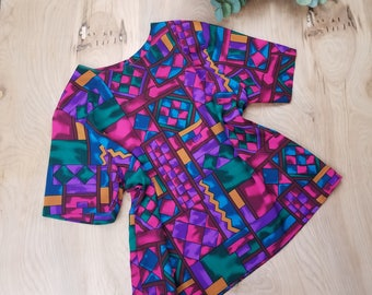 Vintage Abstract Blouse, 1990s, Living Single, Martin Gina Style, Loose Shirt, Pullover, Purple, Pink, Geometric Print, Size Large - XL