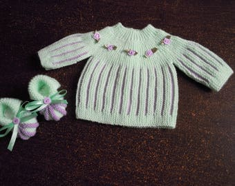 set jacket and booties newborn hand knitted