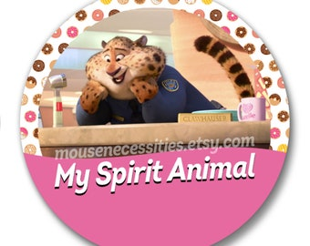 "Zootopia Officer Clawhauser ""My Spirit Animal"" Disney Parks Celebration Inspired 3"" Pinback Button"