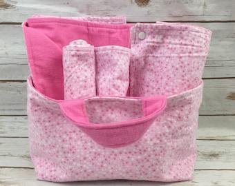 Pink Stars Baby Shower Gift Basket - Girl Baby Gift Set - Pink Fabric Basket - Changing Mat - Newborn Baby Blanket - Newborn Baby Gift Set