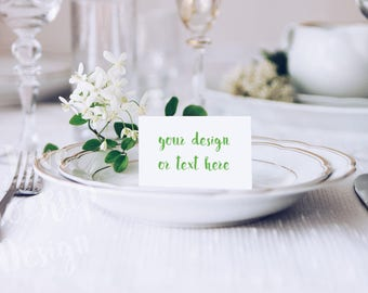 Place Card On The Table / Stock Photography / Product Mockup / High Res File