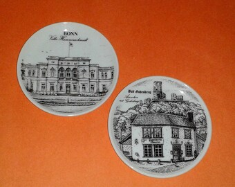 2 Royal Porzellan KPM Bavaria Handarbeit Porcelain Mini Plates ~ Bonn + Bad Godesberg ~ Made in Germany