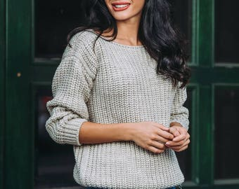 More colors! Beige wool sweater Emerald knitted sweater Womens White sweater Sweater long sleeve Spring knit sweater Winter sweater spring