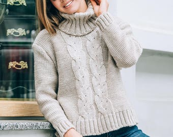 Soft Wool sweater womens Knitted sweater long sleeve sweater Oversized sweater Light beige Autumn Sweater Spring sweater volume Knitting