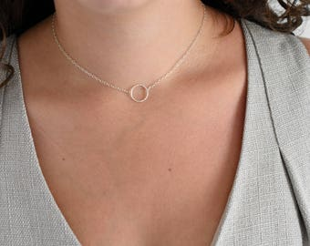 Sterling Silver Circle Necklace, Eternity Necklace, Circle of Life Necklace, Circle Necklace, Dainty Necklace, Delicate Circle Necklace