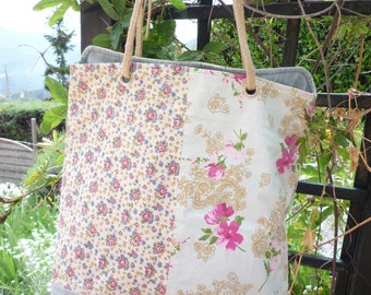 Polished cotton flower print bag