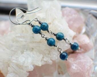 Teal Apatite Earrings, Ocean Blue Apatite Gemstones, Oxidized Sterling Silver,
