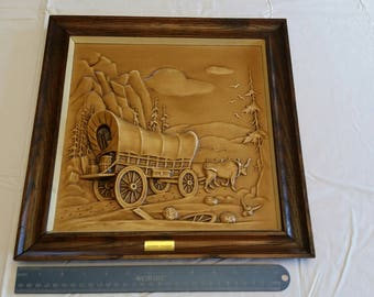 vintage framed blow mold 3D covered wagon picture #601 by miller studio 1960 's -  wall hanging western art decor horses photo print antique