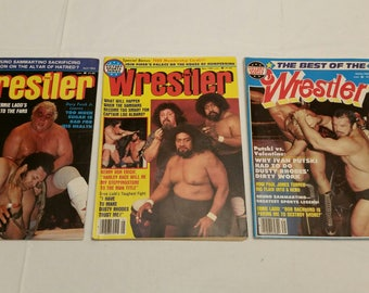 3 vintage pro wrestling magazines - the wrestler 1983 april may spring  - wwe wwf awa ecw nwa sports bundy farrah fawcett eddie gilbert #G