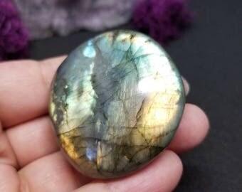 Yellow and Green Labradorite Palm Stone