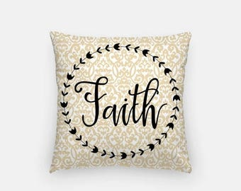 "FRIYAYsale Faith Throw Pillow Cover 18"" - Pillow Cover + Pillow Insert, Fall Decor,Home Decor, Faith, Inspiring Quote Pillow, Autumn Throw P"