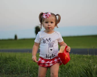 Love at first bite, funny, fries, baby girl, baby shower gift, bodysuit, one piece