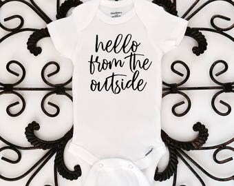 Hello from the outside, baby onesie, funny onesie, baby shower gift