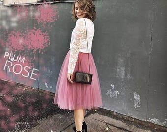164 Plum Rose Tulle Skirt Casual 70 cm Women's, Rose Tulle Skirt Bridal, Princess Women Tulle Skirt, Princess Skirt,Wedding Wine Tulle Skirt