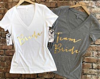 Goldfolie Braut Partei Shirts Team Brautdusche