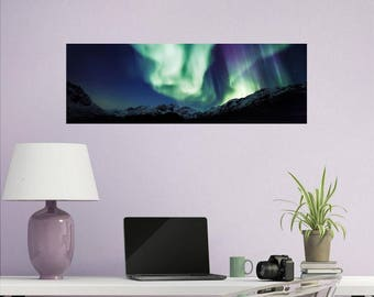 Panorama, Wall Decal, Panorama Wall Art, Northern Lights Wall Decal, Panoramic, Wall Art, Aurora Borealis, Northern Lights #2