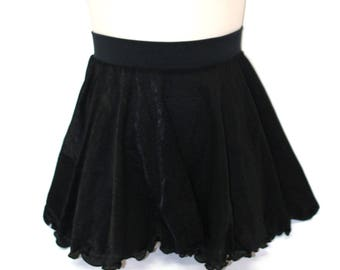 Skirt Child medium  black semi sheer glissinette  layer circle skirt