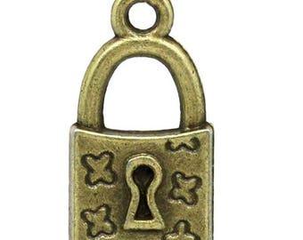 Set of 2 color Bronze-18x10mm - MK02030 padlock pendant