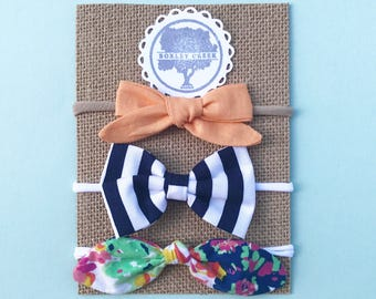 Set of Three Bows - Navy, white, coral, and Tangerine Bows