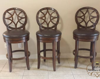 Wood Swivel Bar Stool Set (3)