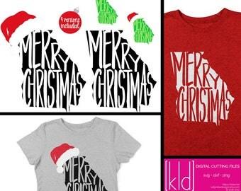 4 Georgia Christmas SVG Files - Georgia svg - Merry Christmas svg - Santa Hat svg - State of Georgia Christmas