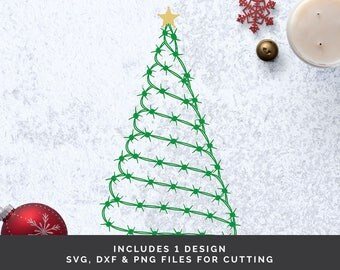 barbed wire christmas tree svg western christmas svg christmas tree svg barbed wire - Wire Christmas Tree