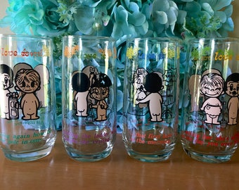Love Is...Comic Strip Glass Tumbler - Set of 4